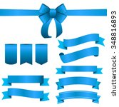 blue ribbon and bow set. vector ... | Shutterstock .eps vector #348816893