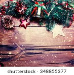 christmas fir tree with... | Shutterstock . vector #348855377