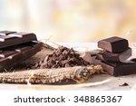 artisan chocolate broken tablet ...   Shutterstock . vector #348865367