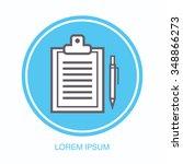 clipboard document and pen... | Shutterstock .eps vector #348866273