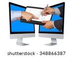 businessman or salesman hand... | Shutterstock . vector #348866387