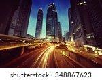 traffic in hong kong at sunset... | Shutterstock . vector #348867623