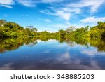 sky being reflected in the... | Shutterstock . vector #348885203