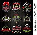 set of christmas decoration... | Shutterstock .eps vector #348910487