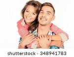 cheerful young woman embracing... | Shutterstock . vector #348941783