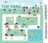 people in the park infographic... | Shutterstock .eps vector #348980957