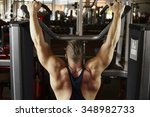strong caicasian man at the gym ... | Shutterstock . vector #348982733