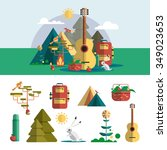 camping outdoor design elements ... | Shutterstock .eps vector #349023653
