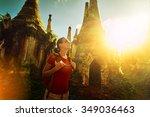 woman backpacker traveling ... | Shutterstock . vector #349036463