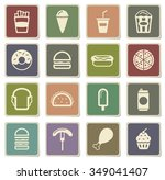fast food label icons for web | Shutterstock .eps vector #349041407