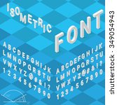 isometric font alphabet with... | Shutterstock .eps vector #349054943