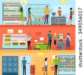 people in supermarket interior... | Shutterstock .eps vector #349056017