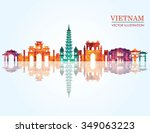 vietnam detailed skyline.... | Shutterstock .eps vector #349063223