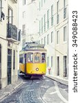 yellow ancient tram on streets... | Shutterstock . vector #349088423