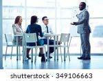 successful male presenting his... | Shutterstock . vector #349106663