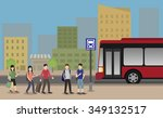 people standing at the bus stop ... | Shutterstock .eps vector #349132517