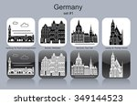 landmarks of germany. set of... | Shutterstock .eps vector #349144523