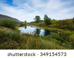 pond in the countryside in...