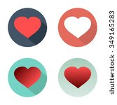 flat set hearts icons with...