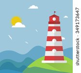 illustration of a lighthouse on ... | Shutterstock . vector #349173647