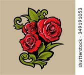 vector red roses.tattoo. | Shutterstock .eps vector #349191053