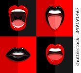 set of mouth with open black... | Shutterstock .eps vector #349191467