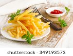 French Fries On A Wooden Board...
