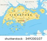 singapore island political map... | Shutterstock .eps vector #349200107