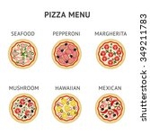 six different types of pizza... | Shutterstock .eps vector #349211783