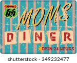 retro route sixty six diner... | Shutterstock .eps vector #349232477