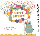 happy birthday. cartoon... | Shutterstock .eps vector #349245473