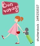 girl with suitcase  toy bear... | Shutterstock .eps vector #349253537