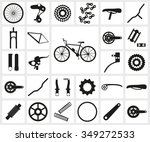 set of black silhouette icons... | Shutterstock .eps vector #349272533