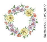 bright lush flower wreath on a... | Shutterstock . vector #349273577