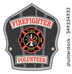 firefighter volunteer badge is... | Shutterstock . vector #349334933