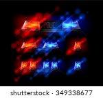siren set. police flasher or... | Shutterstock .eps vector #349338677
