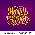 happy new year 2016 typography... | Shutterstock .eps vector #349345127