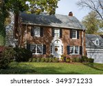 old brick country home in autumn | Shutterstock . vector #349371233