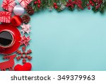 boxes with gifts on a blue cyan ...   Shutterstock . vector #349379963