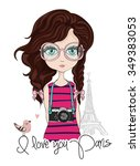 girl vector t shirt print book... | Shutterstock .eps vector #349383053