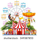 amusement park scene with many... | Shutterstock .eps vector #349387853