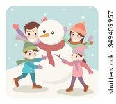 illustration of cartoon family... | Shutterstock .eps vector #349409957