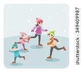 illustration of cartoon family... | Shutterstock .eps vector #349409987