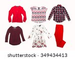 collage of clothes for females... | Shutterstock . vector #349434413