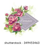 frame with roses brunch.... | Shutterstock .eps vector #349453463