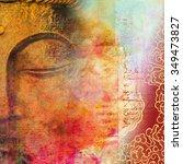 Half Face Of Buddha With Close...