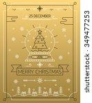 merry christmas outline gold... | Shutterstock .eps vector #349477253