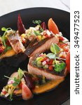 sered salmon with vegetables... | Shutterstock . vector #349477523