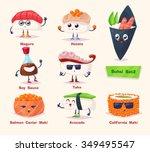 sushi set. soy sauce  wasabi... | Shutterstock .eps vector #349495547