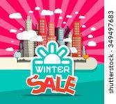 winter sale retro flat design... | Shutterstock .eps vector #349497683